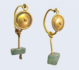 Ancient-Roman-gold-and-emerald-earrings-pair-1st-2nd-century-AD-Authentic
