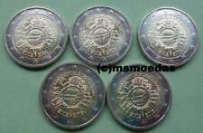 Deutschland BRD 5 x 2 Euro Gedenkmünzen 2012 TYE 10 Jahre Euro-Bargeld A-D-F-G-J
