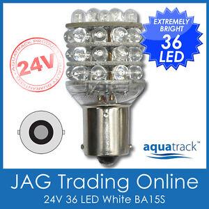 24V 36-LED BA15S 1156 WHITE GLOBE- Truck/Trailer/Reverse/Caravan/Boat Light Bulb