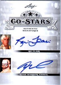 Ric-Flair-amp-Road-Warrior-Animal-2013-Leaf-Co-Stars-Dual-Autograph-Card-WWE