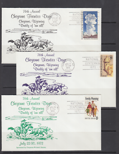 1972-76th-Annual-Cheyenne-Wyoming-Frontier-Days-covers-complete-set-of-6-VF