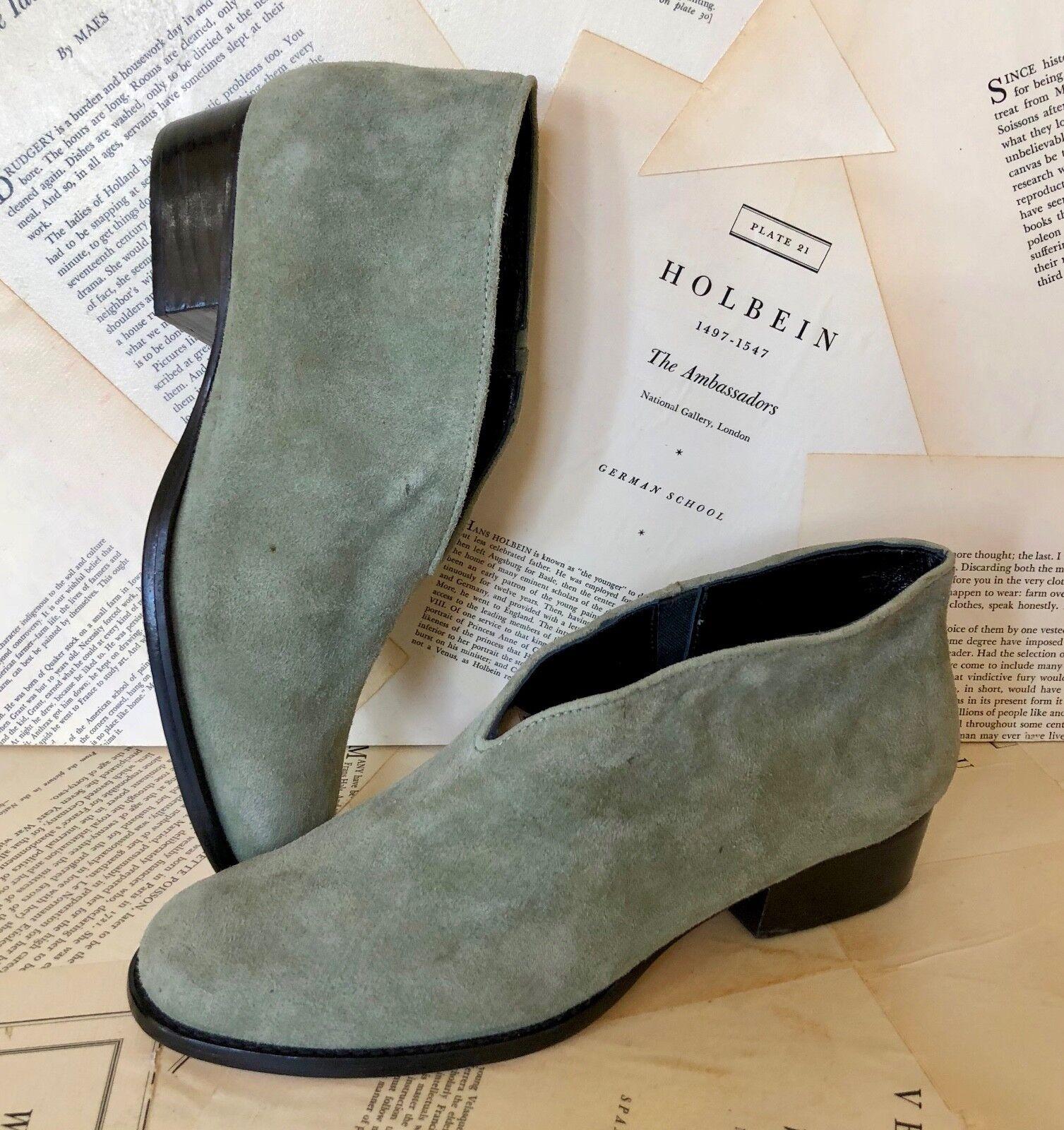 NEW Anthropologie Rachel Comey green Suede Slip In Ankle Shoe Bootie Boot 7