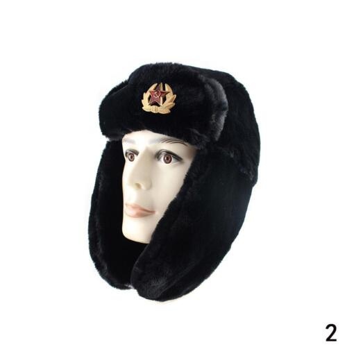 RUSSIAN STYLE MILITARY WINTER HAT WITH BADGE /& EAR FLAPS USHANKA Connery Nett