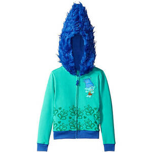 9b75a3a5 Details about Dreamworks Trolls Branch Girls' Costume Zip-Up Hoodie with  Faux Fur