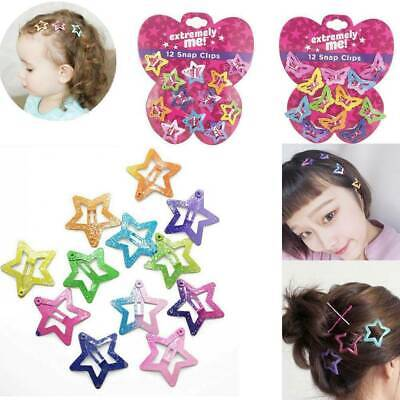 12Pcs//set Lovely Cute Kids Baby Girl Pentagram Butterfly BB Barrettes Hairpins