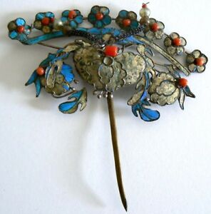 EXTRA-LARGE-Qing-Dynasty-Kingfisher-feather-Hair-Pin-Antique-VINTAGE-Chinese