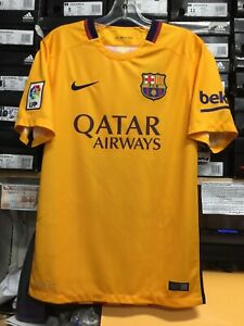 buy popular c6327 19430 Details about Nike Fc Barcelona Away Jersey 2015 Retro Classic Yellow And  Red Size Large Only