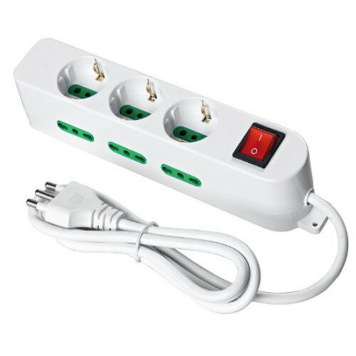 Multipresa ciabatta 9 posti lineare 3 schuko interruttore bianco casa elettrica