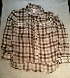 f0f56edc280b3 Band of Gypsies size small button down black and white plaid top ...
