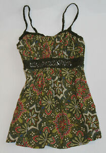 NWT-HOLLISTER-by-Abercrombie-Womens-Embellished-Floral-Top-Olive-M