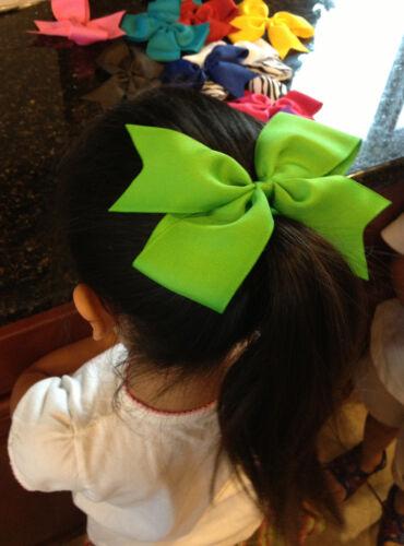 "7/"" Big XL Hair Bow Boutique Girls Baby Toddler Alligator Clip Grosgrain Ribbon"