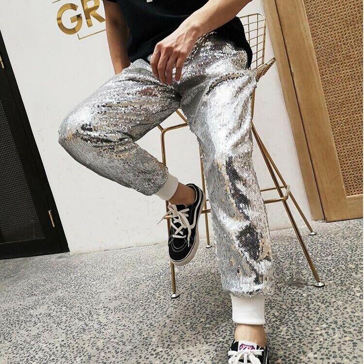 Mens Shiny Elastic Waist Casual sweatpants Glitter Sequins Loose Fit Casual Pant