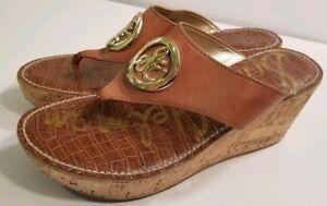 4aa159e74f3 EUC SAM EDELMAN Ruth Brown Leather Cork Wedge Sandals Women s Size ...