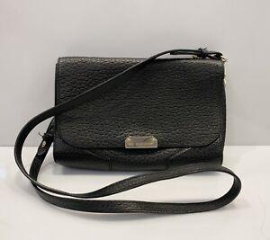 Burberry Crossbody Bag Leather Clutch Flap Lock Black