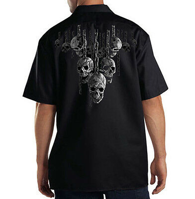 Apprehensive Dickies Black Mechanic Work Shirt Hanging Out Skulls On Chains Clothing, Shoes & Accessories