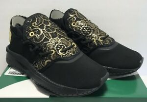 e50fb31fb82 Puma Womens Size 6.5 Tsugi Shinsei Lace Sneakers Black Gold Casual ...