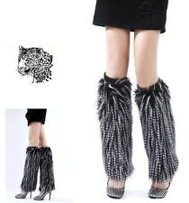 40cm faux fur funky leg warmer boots cover club dance shoes cover Black white