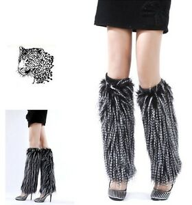 40cm-faux-fur-funky-leg-warmer-boots-cover-club-dance-shoes-cover-Black-white
