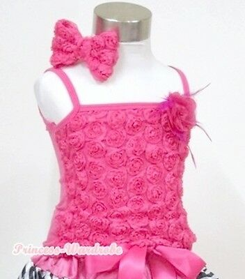 Black Pettitop Tank Top with a Bunch of Rainbow Rose For Girl Pettiskirt NB-8Y