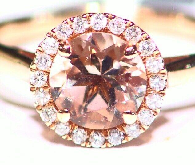 1.37CT 14K pink gold Natural Morganite White Diamond Vintage Engagement Ring