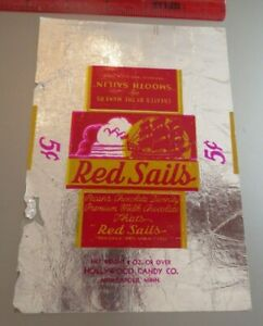VINTAGE OLD candy bar wrapper Hollywood 1920's Red Sails Minneapolis -5 cent