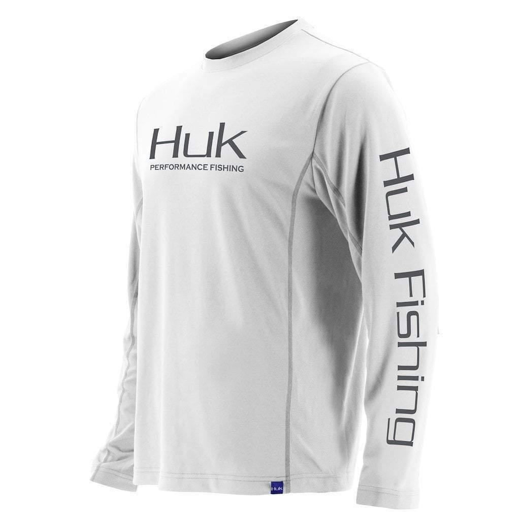 Huk Men's Icon X Long Sleeve Shirt, White, X-Large
