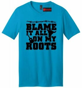 Blame On My Root Funny Shirt Cute Country Redneck V-Neck T Shirt
