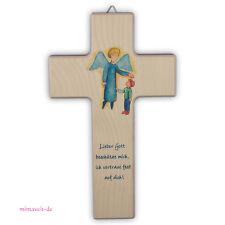 Holzkreuz Holz Kreuz - Engel Emil und Felix - Kinderkreuz - Gott beschütze mich