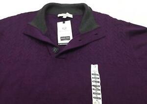 Turnbury-Men-039-s-Extra-Fine-Merino-Wool-Mock-Neck-Cable-Sweater-Plum-XL