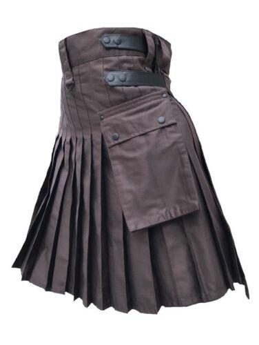 Men/'s Brown Genuine Leather Straps Fashion Sport Cotton Utility Kilt Adjustable