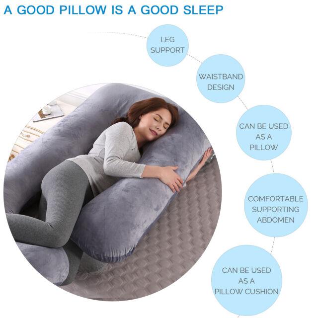 J Shape Comfort 70*145cm Velvet Pregnancy Pillow Maternity Belly Contoured Body