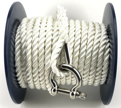 14mm White Polyester Dockline Anchor Mooring Rope x 30 Metre Reel With Shackle