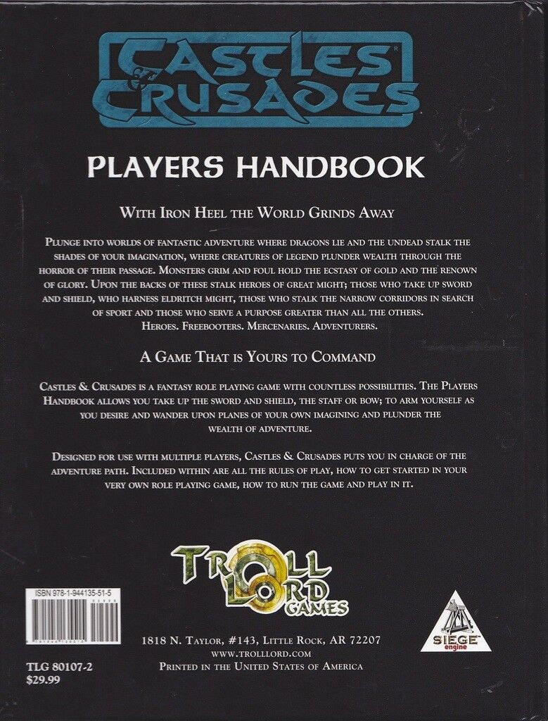 Castles and Crusades - Players' Handbook - 7th Ed 2017 - TLG80107 OSR D&D RPG