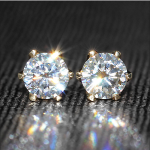 3Ct-Round-Cut-VVS1-D-Diamond-Solitaire-Stud-Earring-Solid-14K-Yellow-Gold-Finish