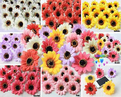 50X 100X Sunflowers Daisy 3 inch Artificial Silk Flower Head Wholesale Lots F-36