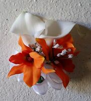 Ivory Calla Lily Orange Orchid Corsage Or Boutonniere