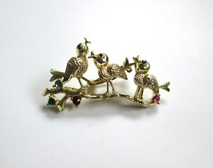 birds on branch pin vintage signed Gerry/'s brooch