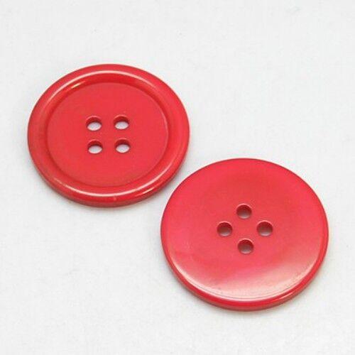 20 x 3mm Pacchetto di 20 FLAT ROUND IN RESINA ROSSA Bottoni 4 FORI