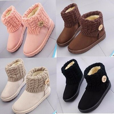 Women's Winter Wool Short Suede Booties Warm Shoes Knit Thicken Ankle Snow Boots