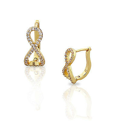 Sterling Silver Yellow Gold White Crystals CZ Infinity Hoop Huggie Earrings