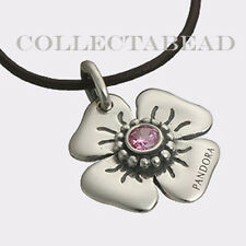 Authentic Pandora Sterling Silver Leather Pink CZ Flower Clasp Opener 890000PCZ