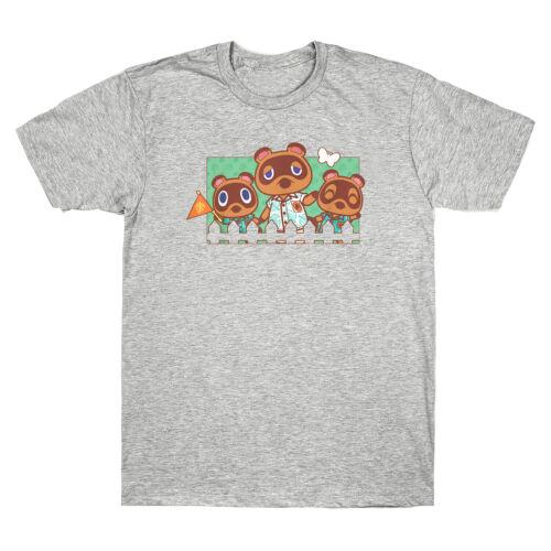 Animal Crossing New Horizons Nook Family Portrait Cartoon Funny Men/'s T Shirt