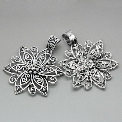 "5PCs Charm Pendants HQ Hollow Pattern Carved Flower Silver Tone 2 5/8""x1 7/8"""