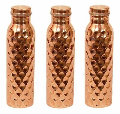 Metallobjekte Diamond Cut Copper Wasserflaschen 900 Ml Jeder Jointless Freeshipping Vereinigt 3 Stück Gefertigt Nach 1945