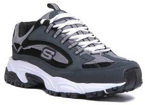 uusi aito halvempaa söpö Details about Skechers Stamina Cutback Men Leather Trainers In Navy Black  Size UK 6 - 12