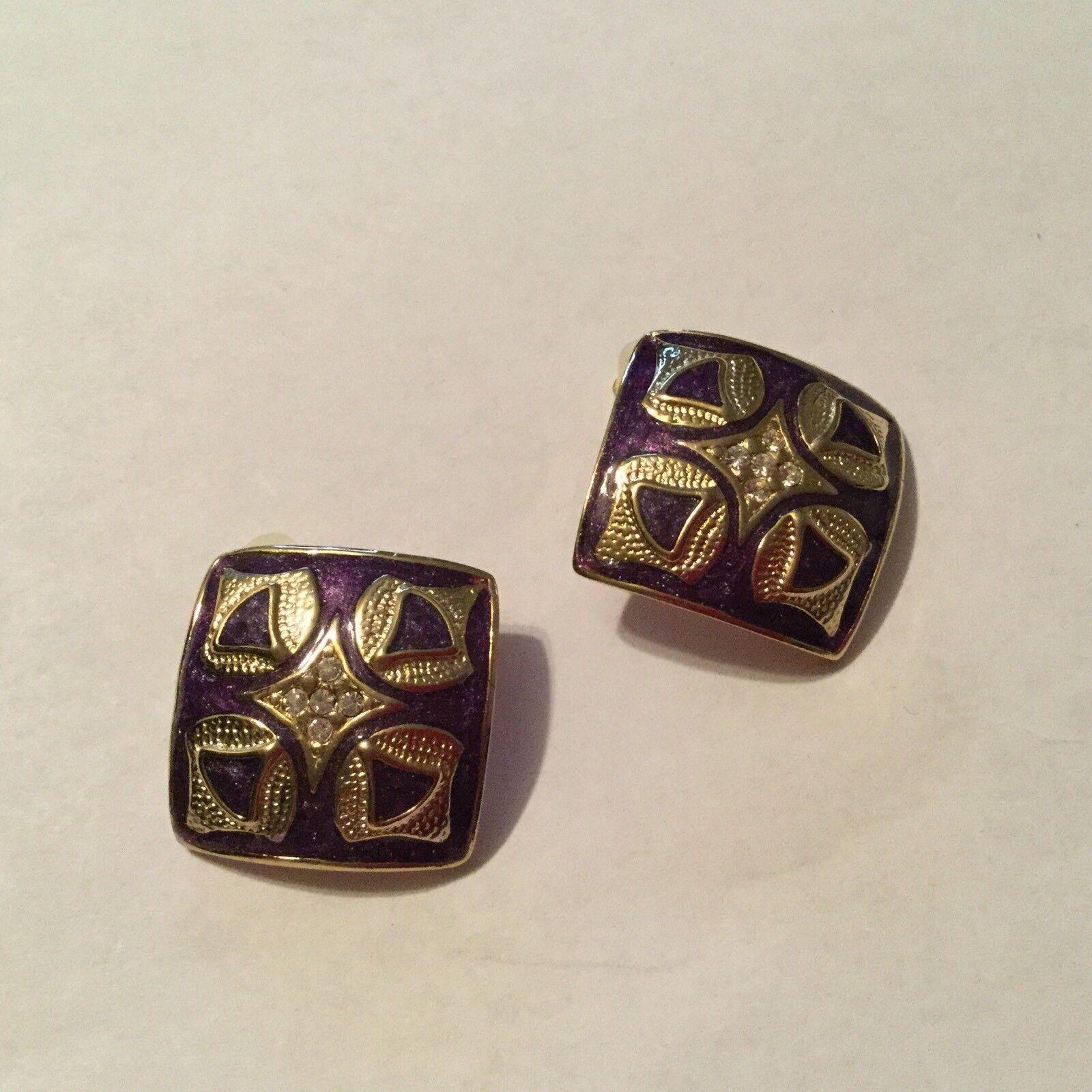 Joan Rivers Purple Enameled Gold/crystal Earrings