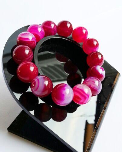 Bracelet en Agate Violette//Fushia Pierre Minéral Naturelle Bijoux Lithothérapie