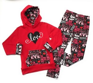 0170368a9 Valentine's Day Baby Toddler Girl Love Hoodie Boutique Outfit Kids ...