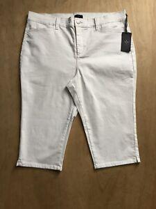NYDJ-x-Kaelin-White-Denim-High-Rise-Skimmer-Capri-Jeans-Plus-Size-18-NWT-B16