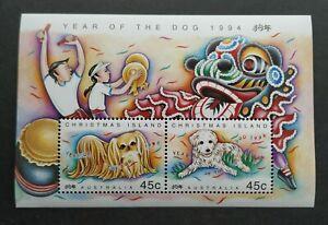 1994-Christmas-Island-Zodiac-Lunar-Year-of-the-Dog-Mini-Sheet-Stamps